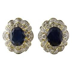 18 Karat Yellow Gold Blue Sapphire and Diamond Earrings Large Pierced