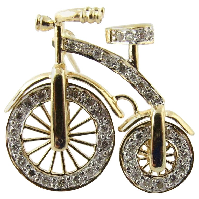 14 Karat Gold 3D Big Wheel Bicycle with Diamond Spinning Wheels Pin Brooch For Sale