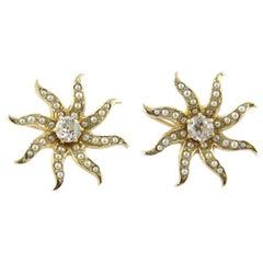 14 Karat Yellow Gold Pearl and Old Miner Diamond Sun Burst Earrings .66 Carat