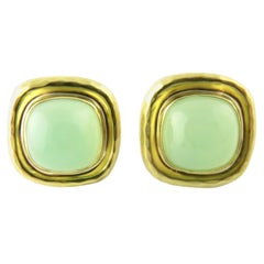 18 Karat Yellow Gold and Jade MAZ Earrings