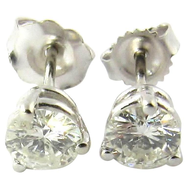 14 Karat White Gold Round Brilliant Diamond Stud Earrings 75 Carat For