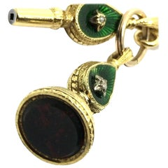 Victorian 18 Karat Yellow Gold Fob and Watch Winder Key