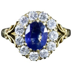 Antique Victorian Sapphire Diamond Ring 18 Carat Gold, circa 1900