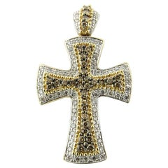 14 Karat White and Yellow Gold Diamond Cross Pendant