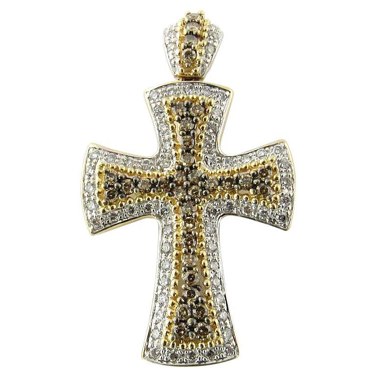 14 Karat White and Yellow Gold Diamond Cross Pendant