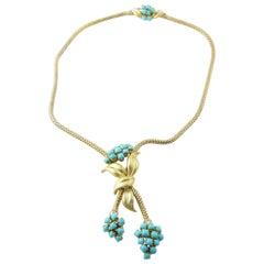 18 Karat Yellow Gold Turquoise and Diamond Necklace