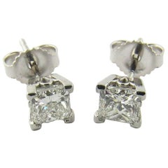 14 Karat White Gold Princess Cut Diamond Stud Earrings .80 Carat