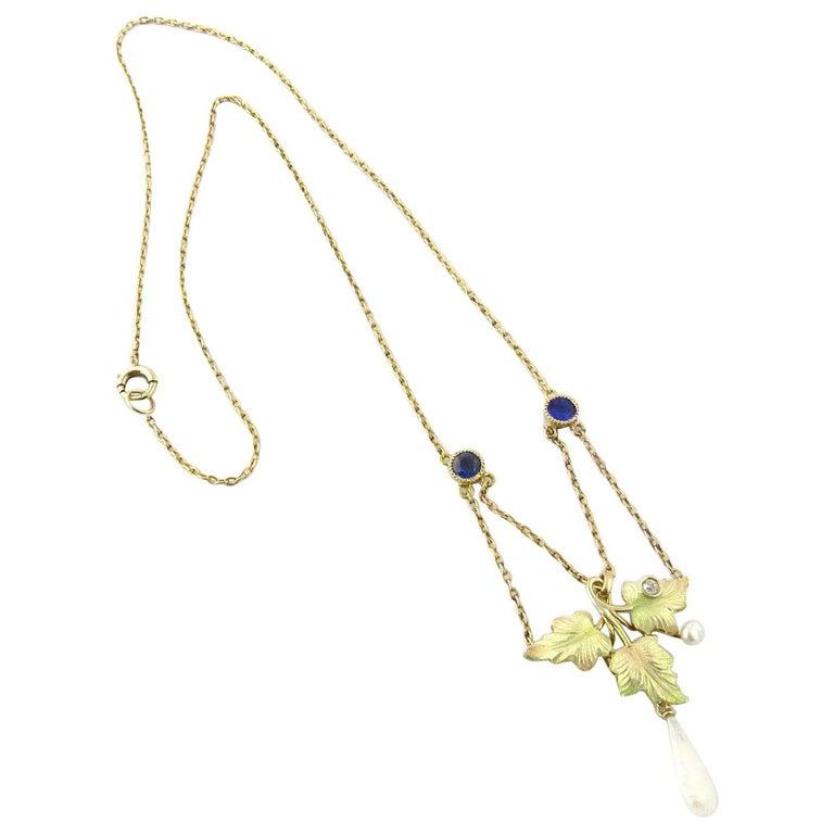 Antique Art Nouveau 14 Karat Gold Enameled Leaf Diamond and Sapphire Necklace