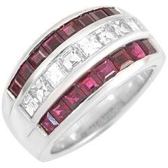 Picchiotti Platinum Square Diamond and Emerald Ring