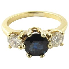 14 Karat Yellow Gold Diamond and Sapphire Ring