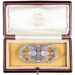 Antique Art Deco Boxed Opal Diamond Brooch 4 Carat Diamond, circa 1920