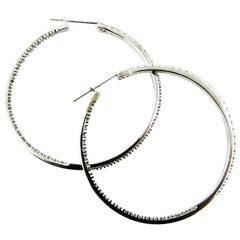 10 Karat White Gold Diamond Hoop Earrings