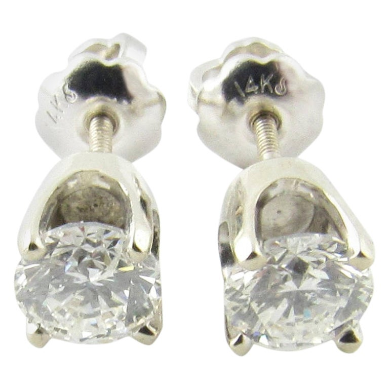 14 Karat White Gold Diamond Stud Earrings .60 Carat