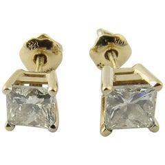 14 Karat Yellow Gold Diamond Princess Cut Earrings