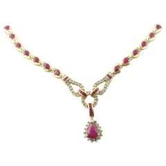 14 Karat Yellow Gold Ruby and Diamond Necklace
