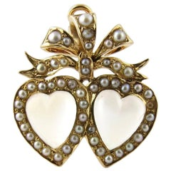 Antique Victorian 14 Karat Gold Double-Heart Moonstone and Seed Pearl Pendant
