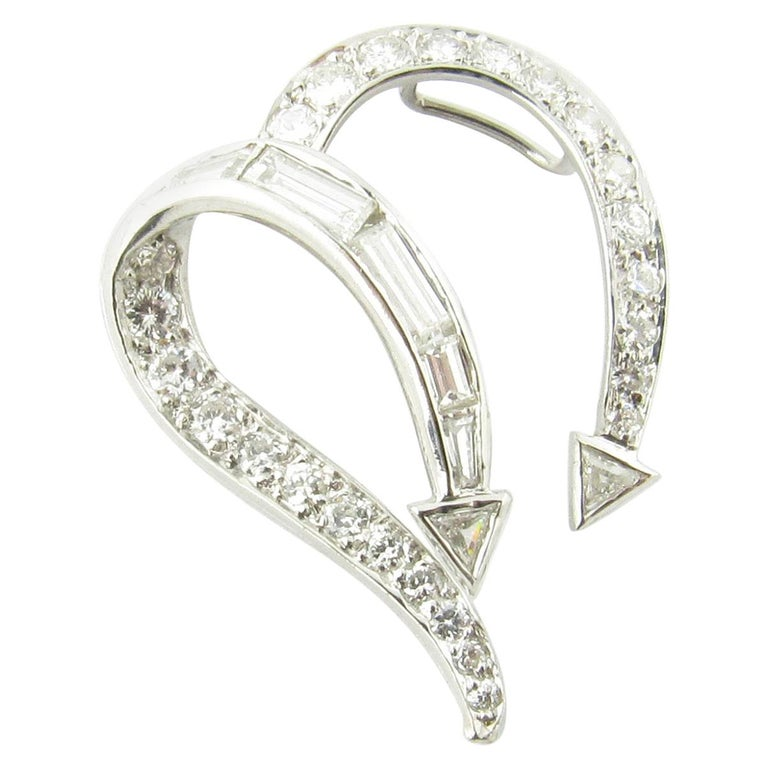 Platinum Diamond Open Heart Slide Pendant