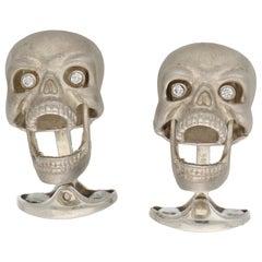 Silver Diamond Skull Cufflinks