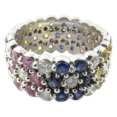 14 Karat White Gold Multicolored Gemstone Band Ring