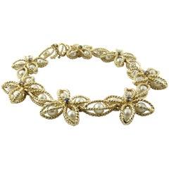 14 Karat Yellow Gold Pearl and Sapphire Bracelet