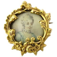 18 Karat Yellow Gold Hand-Painted Victorian Miniature Portrait Brooch Pin