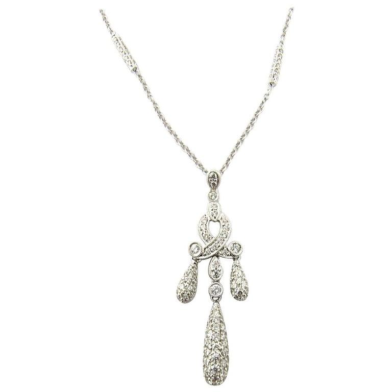 18 Karat White Gold Diamond Drop Pendant