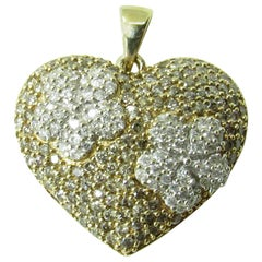 14 Karat Two-Tone Gold Diamond Heart Pendant