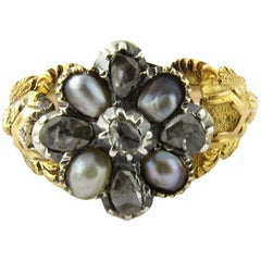 Antique 14 Karat Yellow Gold Pearl and Rose Cut Diamond Mourning Ring