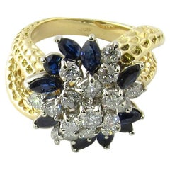 18 Karat Yellow Gold Sapphire and Diamond Floral Cocktail Ring