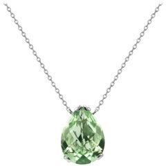 Fei Liu Green Amethyst 18 Karat White Gold Small Pear Stone Pendant