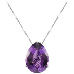 Fei Liu Purple Amethyst 18 Karat White Gold Small Pear Stone Pendant