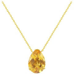 Fei Liu 18 Karat Yellow Gold Small Pear Stone Citrine Pendant