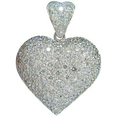 2.50 Carat Puffed Dome Full Cuts Diamonds Heart Pendant 14 Karat