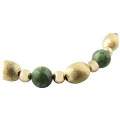 14 Karat Yellow Gold and Green Jade Beaded Necklace
