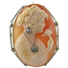 Antique 14 Karat White Gold Cameo Pendant or Brooch