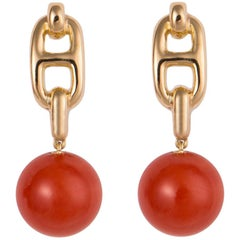 Hermes Gold and Coral Marine Collection Earrings