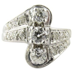 14 Karat White Gold Three-Stone Center Row Diamond Ring