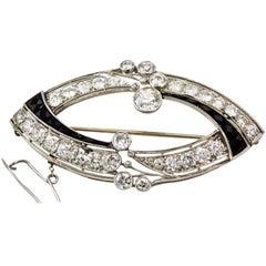 Art Deco Diamond and Onyx Brooch Pin