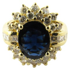 14 Karat Yellow Gold Oval Sapphire and Diamond Ring