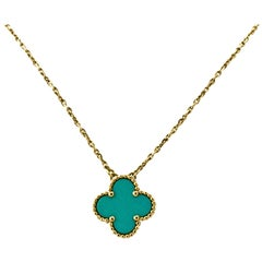 Van Cleef & Arpels Alhambra Turquoise Gold Single Pendant Necklace