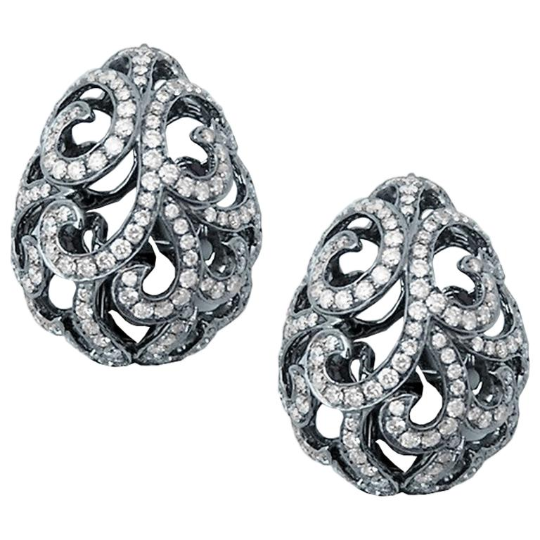 Fei Liu Diamond Filigree Egg 18 Karat White Gold Stud Earrings