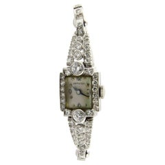 14 Karat White Gold and Diamond Ladies Watch Hand Winding Automatic 3.5 Carat