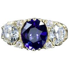 Antique Victorian Sapphire Diamond Ring 3.92 Carat Sapphire 18 Carat, circa 1880