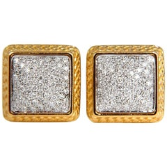 1.30CT Ladies Classic Square Diamond Clip Earring 18KT Crosshatch Trim A+