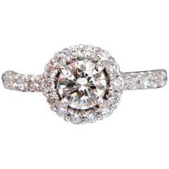 GIA .70 Carat and .50 Carat Round Brilliant Diamonds Ring 14 Karat Halo
