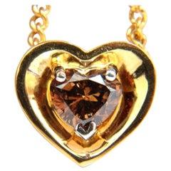 .78 Carat Natural Pure Vivid Brown Heart Cut Diamond Pendant 14 Karat Necklace
