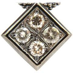 1.54 Carat Diamonds Natural Fancy Light Brown Beaded Necklace 14 Karat