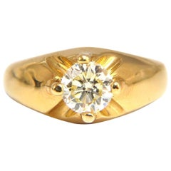 .82 Carat Natural Fancy Light Yellow Diamond Victorian 18 Karat Ring