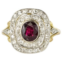 1900s Antique Ruby Diamond Cluster Ring