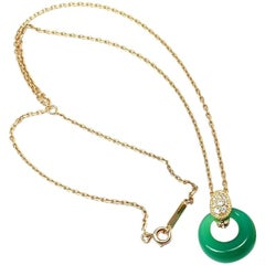 Van Cleef & Arpels Diamond Green Chalcedony Yellow Gold Pendant Necklace